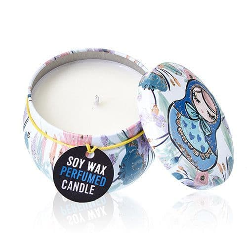 Soy Wax Candles Art Printed Tin Cotton Wick - Russian Dolls - Dolly Blue
